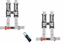 "PRP 4 Point Harness 3"" Seat Belt PAIR SILVER Bypass Polaris RZR XP Turbo 1000"