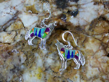 Southwest Howling Wolf Dog Sterling Silver Multi stone inlay pair of Earrings
