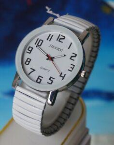 Herren Uhr -  - mit Flexy Zug Armband - - Weiss