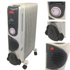 Portable 11 Fin 2500w Electric OIL FILLED RADIATOR Heater FAN & Thermostat White