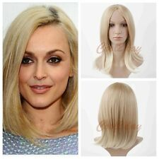 Bob Women Synthetic Anime Cosplay Medium Long Wig Short Straight Blonde Wig+Cap