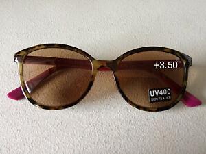 CE +3.50 DESIGNER EYE-LEVEL Women Reading Sun Readers pink purple & BROWN & case