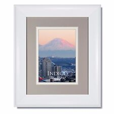 ONE 8x10 Metro White Picture Frame with Oxford Gray/White Mat, Glass & Backing
