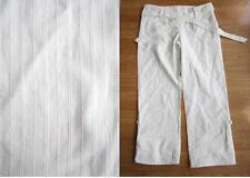 LADIES RIVER ISLAND WHITE STRIPES SIZE 8 CARGO CARPI 3/4 LENGTH PANTS TROUSER