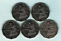Australia. 1988  Bicentenary, Tall Ships - 50 Cents x 5 Coins.. UNC/BU - Ex Roll