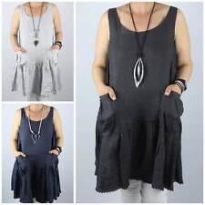 Linen Scoop Neck Casual Sleeveless Tops & Shirts for Women
