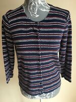 Laura Ashley Womens Cardigan Size 12-14 Navy Blue Spotter 3/4 Sleeved Cotton Ble