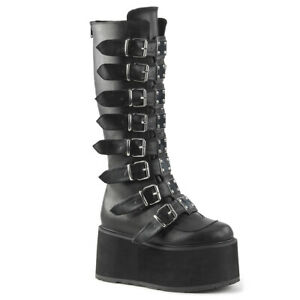 Demonia DAMNED-318 Platform Knee High Boot with Buckle Straps