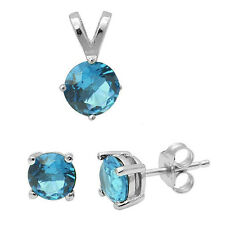 4 Prong Round Aquamarine .925 Sterling Silver Earring & Pendant Jewelry set