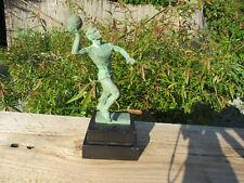 ART DECO statue statuette Trophée sportif bronze joueur Handball socle marbre