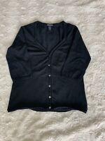 Club Monaco Black Button Up 3 /4 Sleeve Sweater Luxury Basics