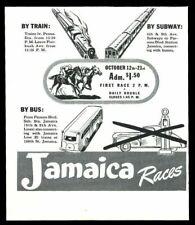 1942 Jamaica racetrack horse racing art subway train bus vintage print ad