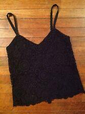 NWT Blue Label Ralph Lauren Women's Polo Black Crocheted Lace Camisole Size 2