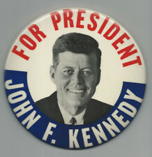 Larger 1960 John F. Kennedy for President Campaign Pin with Cardboard Easel Back