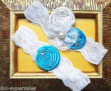 Wedding Bridal Garter Set w/ Satin Ocean Navy Beach Blue Flower White Bow Pearl