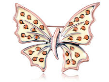 Crystal Elements Cute Old Rose Gold Tone Speckled Butterfly Pin Brooch