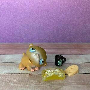 100% AUTHENTIC Littlest Pet Shop LPS #45 Tan Hamster w Accessories