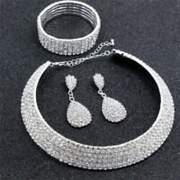 Crystal Diamond Choker Necklace Earrings and Bracelet Wedding Jewelry Set VH