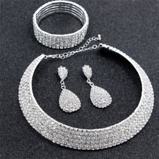 Crystal Diamond Choker Necklace Earrings and Bracelet Wedding Jewelry Set HL