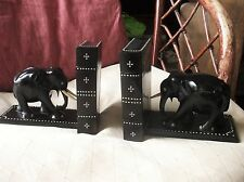 """PAIR OF SOLID EBONY OLD INLAID ELEPHANT BOOKENDS CEYLON SECRET COMPARTMENT 6.5"""""""