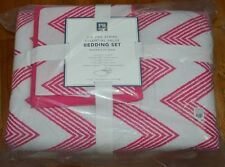POTTERY BARN PB TEEN ZIG ZAG BEDDING SET XL TWIN PINK CHEVRON COMFORTER 5PC #9