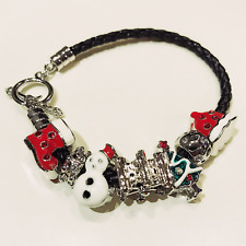 FASHION JEWELRY - Black Woven Leather Christmas Winter Enamel Charms Bracelet