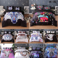 AU Mandala Comforter Bedding Cover Colorful Elephant Boho India Duvet Covers Set