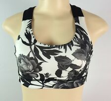 Lululemon All Sport Bra Size 4 Floral Black White Yoga Top Sports Bra New