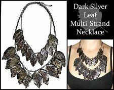 ~DARK SILVER LEAF MULTI-STRAND NECKLACE~Stunning~Unusual