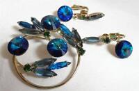 Juliana Estate Vintage Blue Rhinestone Rivoli Brooch & Earrings