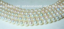 5pcs 7-8mm white genuined natural freshwater pearls loose beads USA BY EUB
