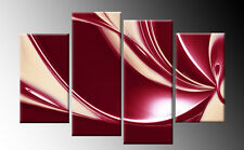 DARK RED CREAM CANVAS ABSTRACT 4 PANEL SPLIT MULTI WALL ART PICTURE 100cm