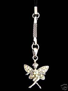 FAIRY CELL PHONE CHARM STRAP WITH CLEAR AB CRYSTALS SILVER TONE