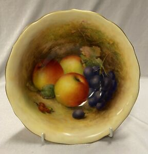 Rare Royal Worcester Bowl Decorated in Hand Painted Fruit by Richard Sebright