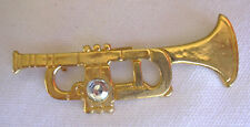 Pin / Brooch Gold  Trumpet With Diamante