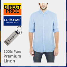 Linen Long Sleeve Solid Casual Shirts for Men