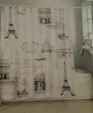 L'Atelier Paris Eiffel Tower Shower Curtain W/12 Roller Hooks