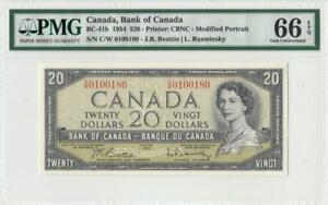 1954 BANK OF CANADA QEII $20 ~Beattie & Rasminsky~ **0100180** (( PMG 66 EPQ ))