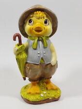 Entenküken Küken Oster Deko Tier Figur Skulptur Statue Hut Schirm Ente Huhn Hahn