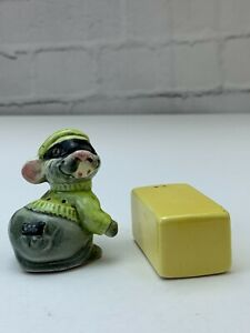 "Vintage Porcelain Rat Cheese Mouse Salt & Pepper Shaker Figurine Collectable 2"""