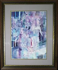SHAPS ORIGINAL ABSTRACT STILL LIFE WATERCOLOR / BEAUTIFUL FORM & COLOR / FRAMED