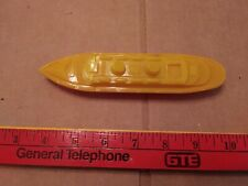 Vintage Hard Plastic Boat, Ship, Yellow Top, Red Bottom, Cruise Ship, Unbranded