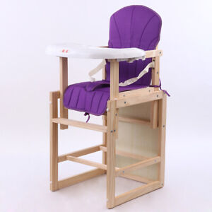 Baby High Chair Wooden Modern 3 in1 convertible Feeding Highchair w/ Tray