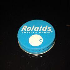 VTG 1960's ROLAIDS MINTS Tin Glass Jar Lid GRAPHIC Vibrant Robbin Egg Blue Color