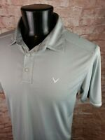 Callaway Golf Polo Shirt Mens Large Polyester Gray White MINT!