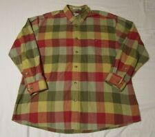 Orvis Mens Plaid Long Sleeve Flannel Shirt Red Yellow Green Full Button XL