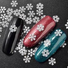 3D Gillter White Snowflake Nail Sequins Christmas Nail Flakes Manicure Decor DIY