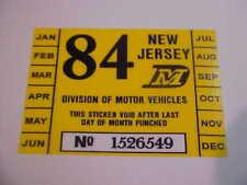 NEW JERSEY 1984 inspection sticker windshild