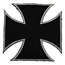 "Maltese Iron Cross Applique Patch - Black, Silver Badge 2.5"" (Iron on)"