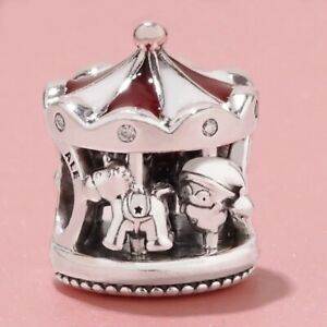 RED & WHITE CAROUSEL MERRY-GO-ROUND CZ PAVE s925 GENUINE STERLING SILVER CHARM